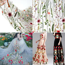 135x100cm Floral Flower Embroidery Mesh Wedding Bridal Dress Lace Fabric 39*53''