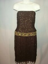 Kay Unger Dark Brown Strapless Dress Gold Embellishments Sequins Beads Womens 8