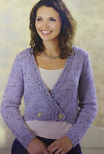 KNITTING PATTERN Ladies Cropped Wrap Over Cardigan Cable Sleeves Gedifra PATTERN