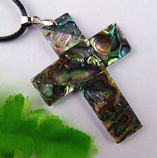 Beautiful natural Abalone shell carved Cross pendant bead BC1198