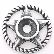 """Western Roped Star Bezel Concho in Antique Silver 3/4"""" 7785-07"""