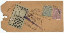India 1930 VPP Too Late parcel tag Lahore to DUFF DUNBAR MANALI