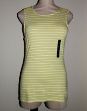 BANANA REPUBLIC Women's Size Small Green White Striped Scoopneck Tank Top Shirt