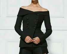 Fashional Black Women Off the Shoulder Long Sleeve Double-Breasted Jacket