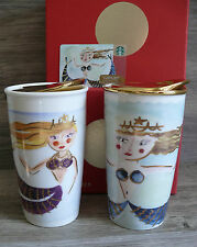 Two Starbucks Siren Gold Lid Tumblers & Gift Card 2014 & 2015 Mermaid Dot NWT