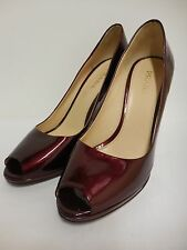Stunning shoes by PRADA cherry red patent peeptoe heels 100% leather 40 UK6.5
