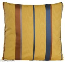 Mustard Cushion Cover Stripes Woven Wellmann Blend Silk Fabric Throw Pillow Case