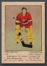 Terry Sawchuk Rookie Reprint, Original size, #61, Parkhurst 1951-52 mint