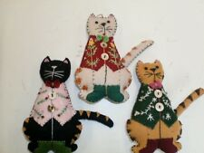 New LOT of 3 Hand Sewn Folk Art Cat Christmas Ornaments White/Black/Yellow Cats