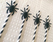 20 Black Stripped Paper Straw Spider Decoration Spiderman Halloween Spooky Party