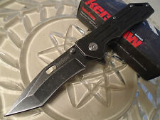 "Kershaw Lifter Black Wash Assisted Tanto Tactical Pocket Knife 1302BW 8"" Open"