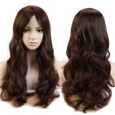 Ladies Hair Wig Long Curly Wavy Natutal Cosplay Party Daily Dress Brown Full Wig