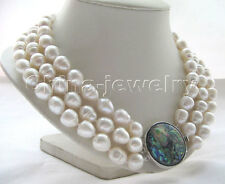 "P3598- 3row 17-19""12-14mm white baroque freshwater pearl necklace -abalone shell"