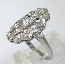 Antique platinum diamond deco dinner ring round brilliant filigree .55CT sz 7.25