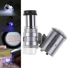 60x Handheld Mini Pocket Microscope Loupe Jeweler Magnifier LED Light Trendy P