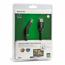 Belkin 2m HDMI Cable Male/Male Dual Swivel with Ethernet Gold Plated - Black