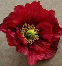 "Large 4.5"" Red Poppy Silk Flower Hair Clip,Armistice Day,Dance,Remembrance Day"