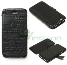 Custodia eco pelle ZENUS LETTERING DIARY NERA nero per iPhone 6 6S book cover