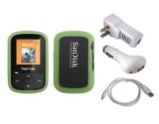 Green Skin Case + White Charger Cable for Sandisk Sansa Clip Sport Plus SDMX28
