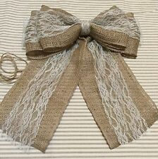 Burlap Ivory Lace Pew Bow Chair Venue Wedding Rustic Chic Wreath Ribbon Holiday