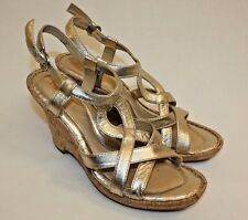 Born Wedge Heel Womens Ladies Strap Silver Pewter Sandals Shoes Size 8M