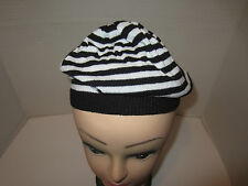 BLACK AND WHITE STRIPED BERET HAT LIGHTWEIGHT FRENCH BERET