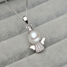 Fashion Womens Angel Baby Nature Lake Pearl Pendant Necklace Jewelry Gift W87