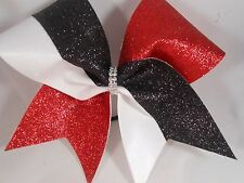 Red Black GLITTER white mystique Cheer Bow by BlingItOnCheerBowz