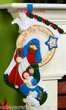 "Bucilla Joy To The World ~ 16"" Felt Christmas Stocking Kit #86482 Nativity Scene"