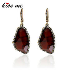 KISS ME Irregular Red Synthetic Stones Drop Earrings Antique Gold Plated ed01389