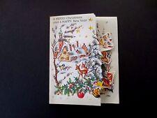 #L52- Vintage Unused German Glittered Xmas Greeting Card Woodland Creatures