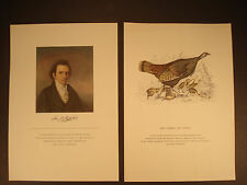 HTF Self-Portrait Print of John J. Audubon and one of his Prints Hen Turkey and