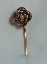 "ANTIQUE VICTORIAN 14K YELLOW GOLD STICK PIN BROOCH W/ SEED PEARL, ENGRAVED, 2"" L"
