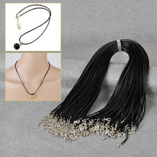 HOT Wholesale 2mm Black Wax Leather Cord Necklace Rope 18inch with Lobster Clasp