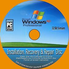 WINDOWS XP PROFESSIONAL 32 Bit Inc SP3 INSTALL REINSTALL RECOVER REPAIR PCCD NEW
