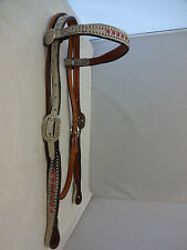New Double J Saddlery Hair On Browband Pink Rhinestone Headstall Horse Spotted