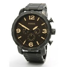 Fossil Mens JR1356  Nate Matte Black Chronograph Stainless Steel Watch