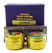 Natural Jasmine  Solid Perfume Body Musk in Mini Brass Jar Made in India-4g