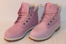 "TIMBERLAND WOMEN'S 6"" WATERPROOF PREMIUM LEATHER NUBUCK BOOTS 9M PINK  #3391 EUC"