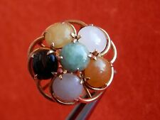 14K Solid Yellow Gold Multi-Colored Round Jade Cabs Ring Size 6