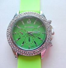 Watch Woman green Silicone band round green face-sparkly clear stones