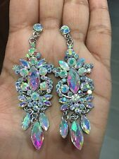 "3"" Long Aurora Borealis AB Silver Dangle Pierced Clear Bridal Crystal Earrings"