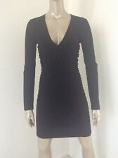 Versace Lbd Sexy V Neck Wool Cotton Stretch Black Dress Size 44 Sheer Insets