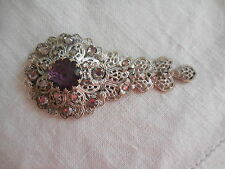 SILVER FILIGREE ANTIQUE DRESS CLIP BROOCH RED STONE AND PINK STONES