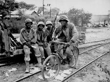 WW2 Photo WWII US Army Negro Soldiers with Bike 1945   / 1209