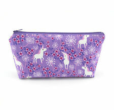 Cosmetic Bag, Zip Pouch, Makeup Bag, Pencil Case, Zipper Bag - Purple Unicorn