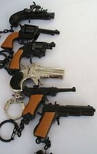 "VINTAGE 2"" MINIATURE CAP GUNS KEY CHAIN LOT OF 6 DIE CAST COLLECTORS 2''- 21/2"""