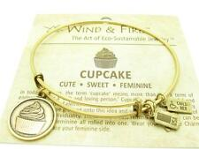 Wind and Fire Cupcake Charm Wire Bangle Stackable Bracelet Made USA Gift Idea