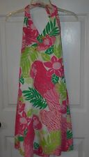 Women's LILLY PULITZER Tropical Parrot Modest Knee-Length Halter Sun Dress Sz 4
