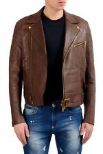 Dsquared2 Men's 100% Leather Brown Double Breasted Jacket US S IT 48